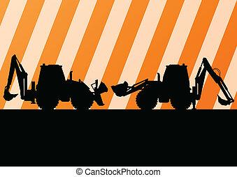 dettagliato, scavatore, luogo, illustrazione, silhouette, vettore, fondo, costruzione, trattore