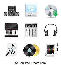 dettagliato, set, musicale, icone