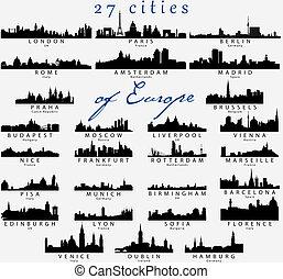 dettagliato, silhouette, città, europeo