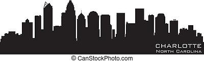 dettagliato, silhouette, vettore, nord, skyline., charlotte, carolina