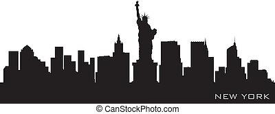 dettagliato, silhouette, vettore, york, nuovo, skyline.