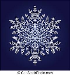 dettagliato, singolo, fiocco di neve