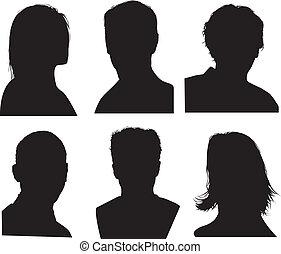 dettagliato, testa, silhouette