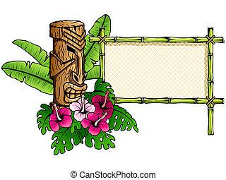 dettagliato, tiki, bandiera, hawaiano
