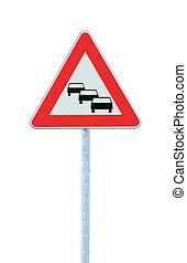 dettagliato, triangolo, verticale, avanti, segno, isolato, simbolo, grande, probabilmente, marmellata, traffico, aspettarsi, congestione, ritardi, closeup, avvertimento, code, strada, rosso