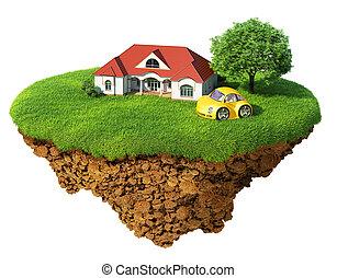 dettagliato, vita, concetto, successo, lifestyle., isolated., isola, idilliaco, albero, prato, casa, sport, felicità, ecologico, dream., automobile., capriccio, base., aria, suolo