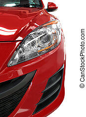 dettaglio, fronte, macchina rossa, mezzo