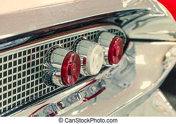 dettaglio, lampada, automobile., close-up., mostra, automobile