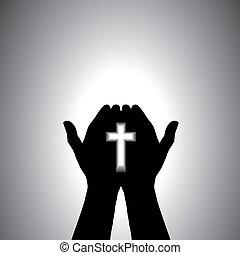 devoto, adorare, cristiano, mano, croce