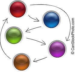 diagramma, amministrazione, affari, isolato, illustrazione, strategia, bottoni, vettore