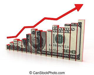 diagramma, crescita, dollaro