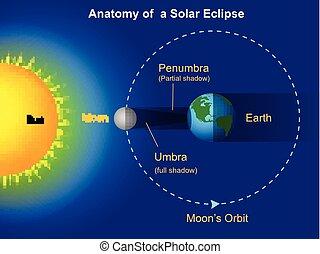 diagramma, eclissi, solare