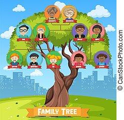 diagramma, famiglia, tre, esposizione, albero, generazione