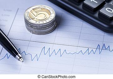 diagramma, monete, closeup