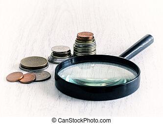 diagramma, monete, vetro, ingrandendo