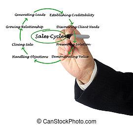 diagramma, vendite, ciclo