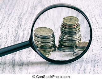 diagramma, vetro, monete, ingrandendo