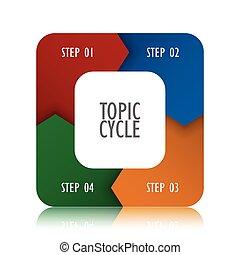 diagramma, vettore, illustrazione affari, infographic, sagoma, ciclo, 3d