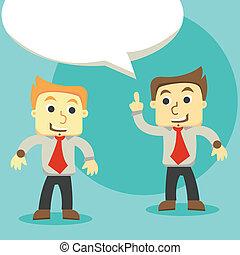 dialogo, uomini affari, discutere, uomini affari, due