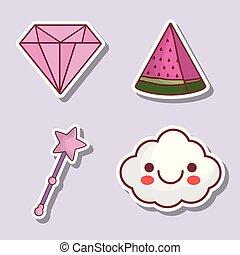 diamante, anguria, nuvola, icona