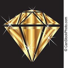 diamante, bling, oro