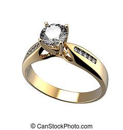 diamante, isolato, anello