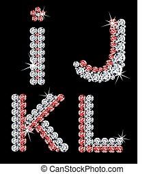 diamante, set, (3), letters., vettore, alfabetico