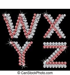 diamante, set, (7), letters., vettore, alfabetico