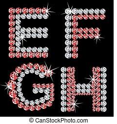 diamante, set, letters., vettore, (2), alfabetico