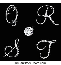 diamante, set, letters., vettore, 5, alfabetico, aggraziato
