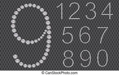 diamante, ve, set, numero 1, 9