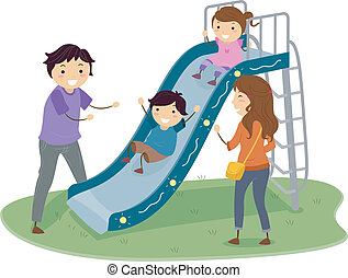 diapositiva, stickman, campo di gioco, famiglia
