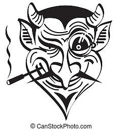 diavolo, arte, clip, male, grafico, satana
