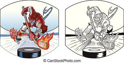 diavolo, ghiaccio, cartone animato, vettore, hockey, gioco, mascotte
