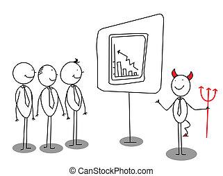 diavolo, rosso, presentazione, uomo affari