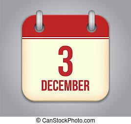dicembre, app, 3, vettore, icon., calendario