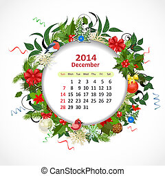 dicembre, calendario, 2014