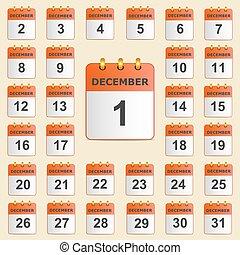 dicembre, calendario, set, icone