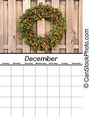 dicembre, calendario, vuoto