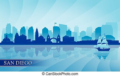 diego, silhouette, san, skyline città, fondo
