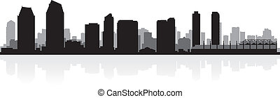 diego, siluetta skyline, san, città