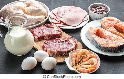 diet:, legno, crudo, prodotti, fondo, proteina