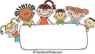 dietro, bambini, cartellone, pigolio, illustrazione