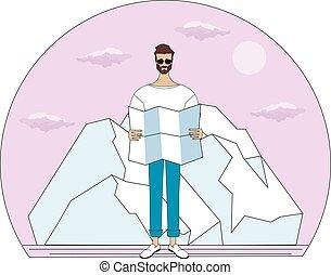 dietro, o, diritto, occhiate, leva piedi, lui, zona, montagne, viaggiatore, nubi, esploratore, uomo, mappa, sole