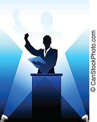 dietro, silhouette, business/political, podio, altoparlante