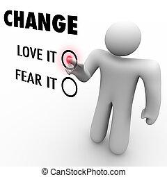 differente, amore, cose, -, o, abbracciare, lei, paura, cambiamento
