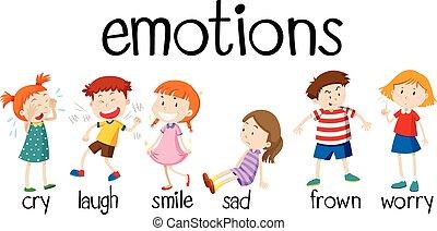 differente, bambini, esprimere, emozioni