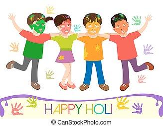 differente, bambini, illustrazione, colori, sporco, holi, gioco
