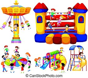 differente, cavalcate, bambini giocando