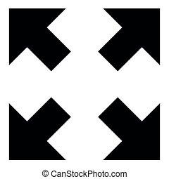 differente, centro, indicare, colorare, frecce, illustrazione, quattro, nero, indicazione, icona